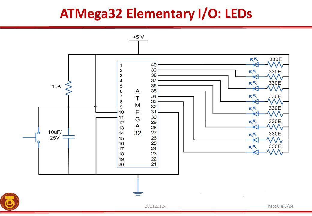 ATMega32 Elementary I/O: LEDs 20112012-IModule 8/24