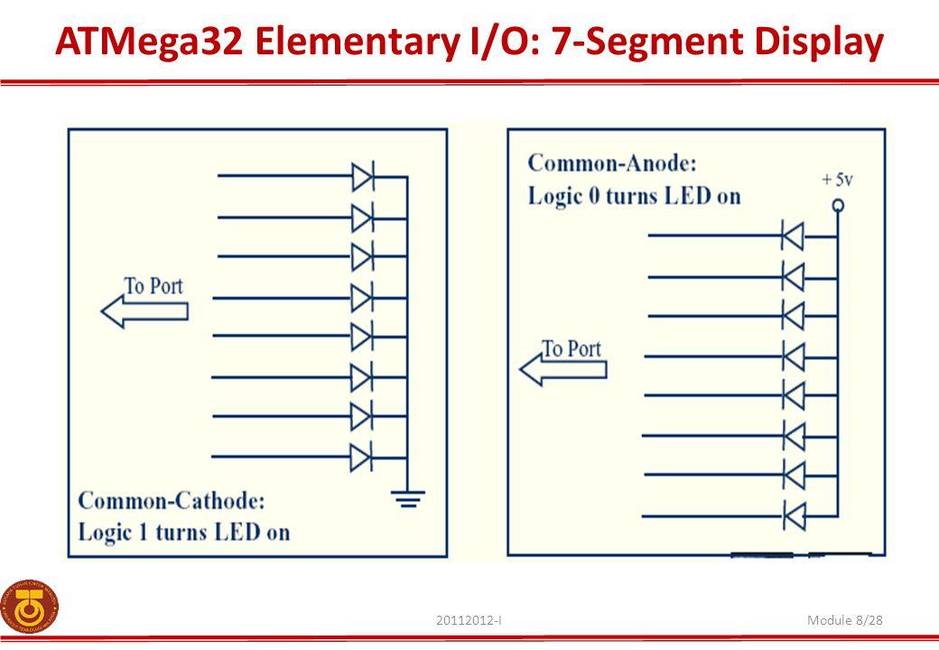 ATMega32 Elementary I/O: 7-Segment Display 20112012-IModule 8/28