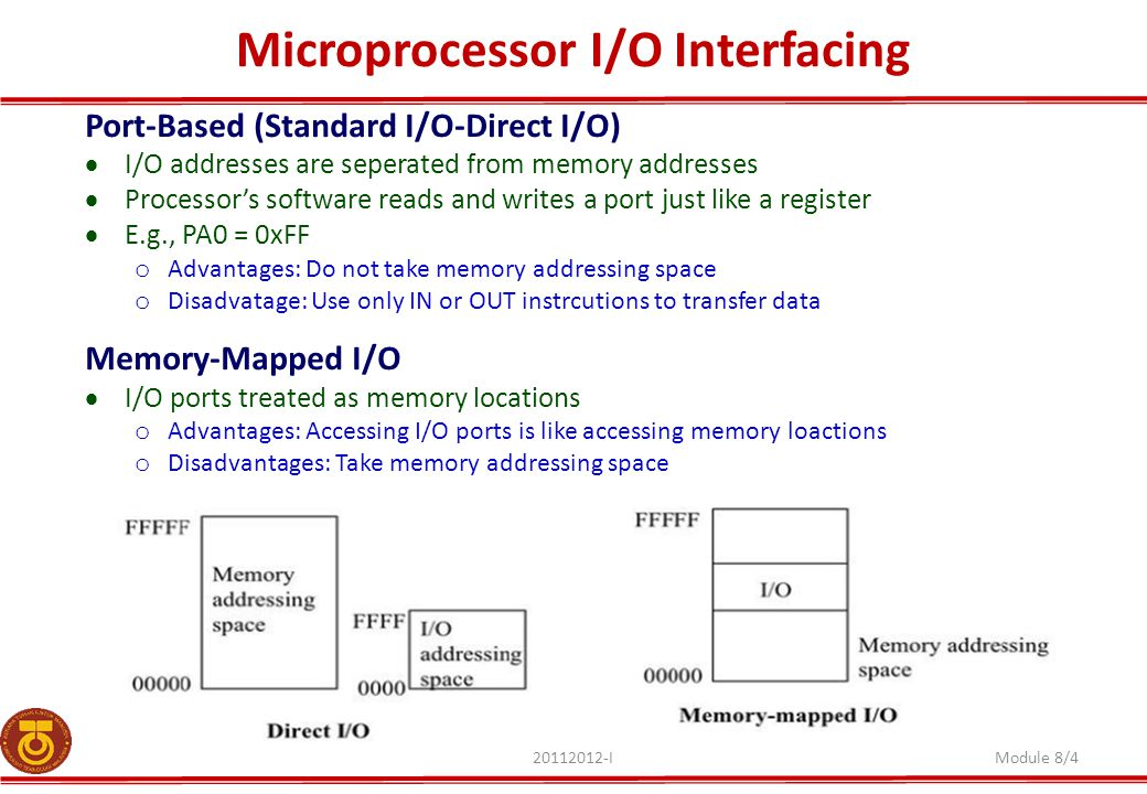 Microprocessor I/O Interfacing 20112012-IModule 8/4 Port-Based (Standard I/O-Direct I/O)  I/O addresses are seperated from memory addresses  Processor's software reads and writes a port just like a register  E.g., PA0 = 0xFF o Advantages: Do not take memory addressing space o Disadvatage: Use only IN or OUT instrcutions to transfer data Memory-Mapped I/O  I/O ports treated as memory locations o Advantages: Accessing I/O ports is like accessing memory loactions o Disadvantages: Take memory addressing space