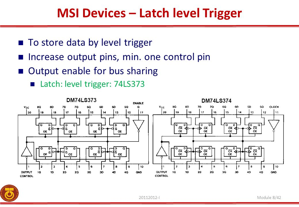 MSI Devices – Latch level Trigger 20112012-IModule 8/42 To store data by level trigger Increase output pins, min.