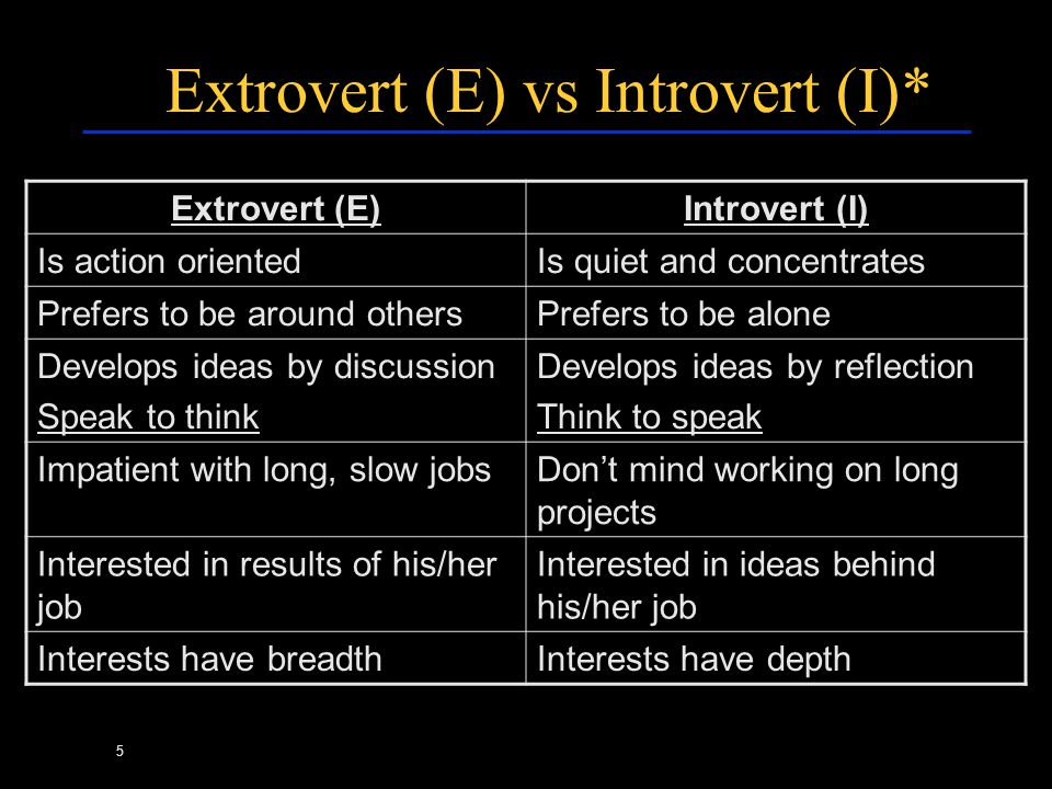 5 Extrovert (E) vs Introvert (I)* Extrovert (E)Introvert (I) Is action orientedIs quiet and concentrates Prefers to be around othersPrefers to be alon