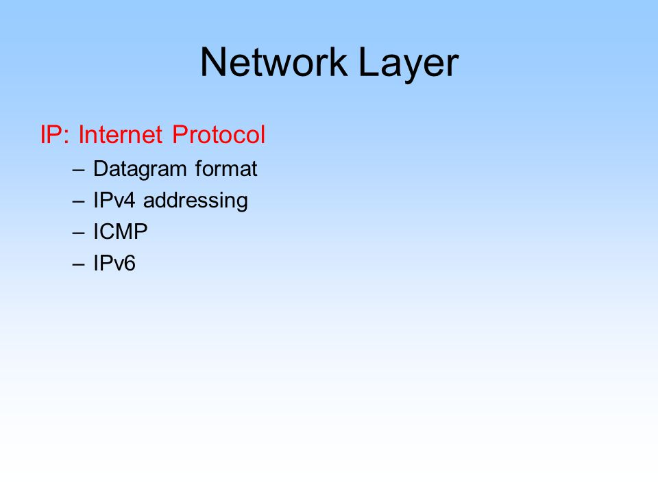 Network Layer IP: Internet Protocol –Datagram format –IPv4 addressing –ICMP –IPv6