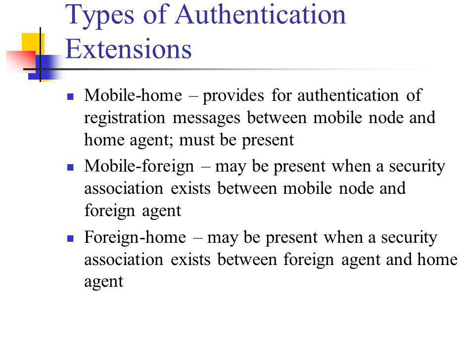 Types of Authentication Extensions Mobile-home – provides for authentication of registration messages between mobile node and home agent; must be pres