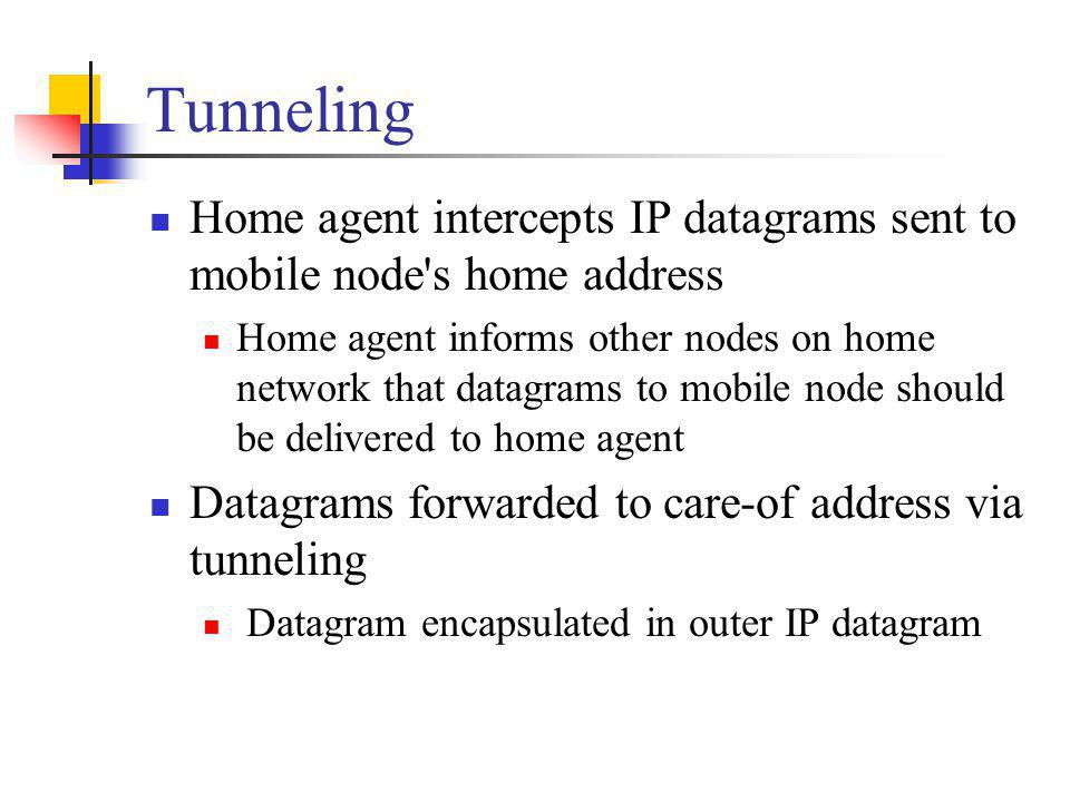 Tunneling Home agent intercepts IP datagrams sent to mobile node's home address Home agent informs other nodes on home network that datagrams to mobil