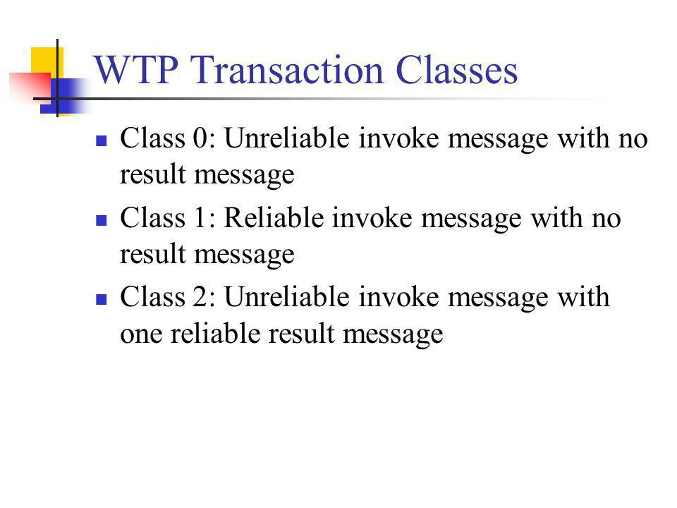 WTP Transaction Classes Class 0: Unreliable invoke message with no result message Class 1: Reliable invoke message with no result message Class 2: Unr