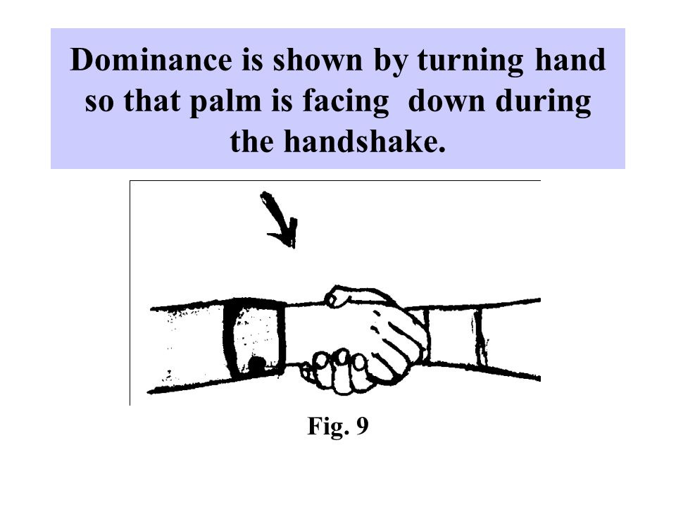 Dominance is shown by turning hand so that palm is facing down during the handshake. Fig. 9