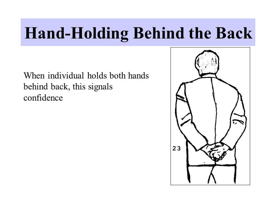 Hand-Holding Behind the Back When individual holds both hands behind back, this signals confidence