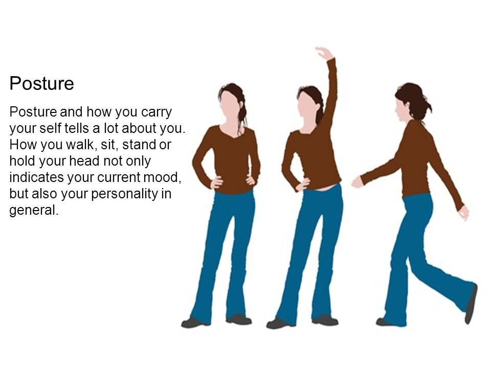 Posture and how you carry your self tells a lot about you. How you walk, sit, stand or hold your head not only indicates your current mood, but also y