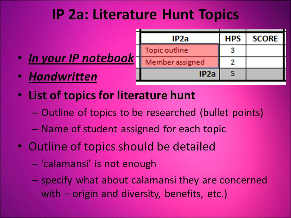 IP 2a: Literature Hunt Topics In your IP notebook Handwritten List of topics for literature hunt – Outline of topics to be researched (bullet points)