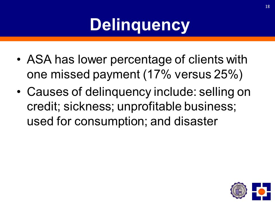 18 Delinquency ASA has lower percentage of clients with one missed payment (17% versus 25%) Causes of delinquency include: selling on credit; sickness; unprofitable business; used for consumption; and disaster