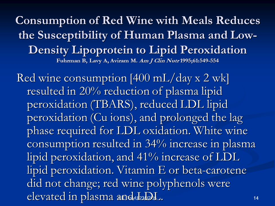 14HK PolyU 23/02/05 Consumption of Red Wine with Meals Reduces the Susceptibility of Human Plasma and Low- Density Lipoprotein to Lipid Peroxidation F