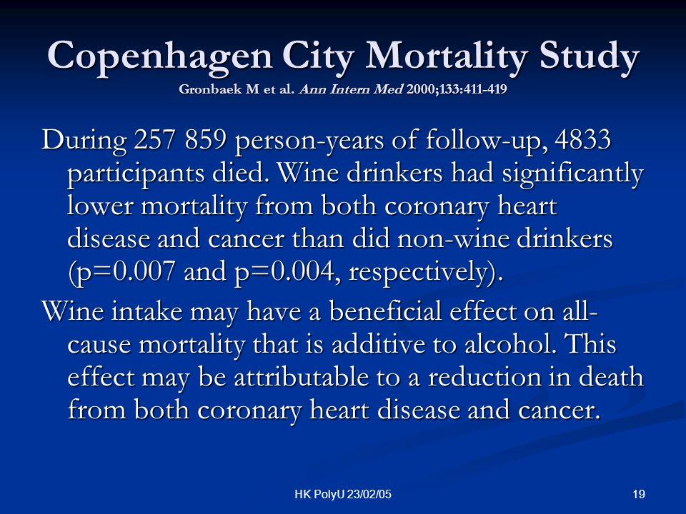 19HK PolyU 23/02/05 Copenhagen City Mortality Study Gronbaek M et al. Ann Intern Med 2000;133:411-419 During 257 859 person-years of follow-up, 4833 p
