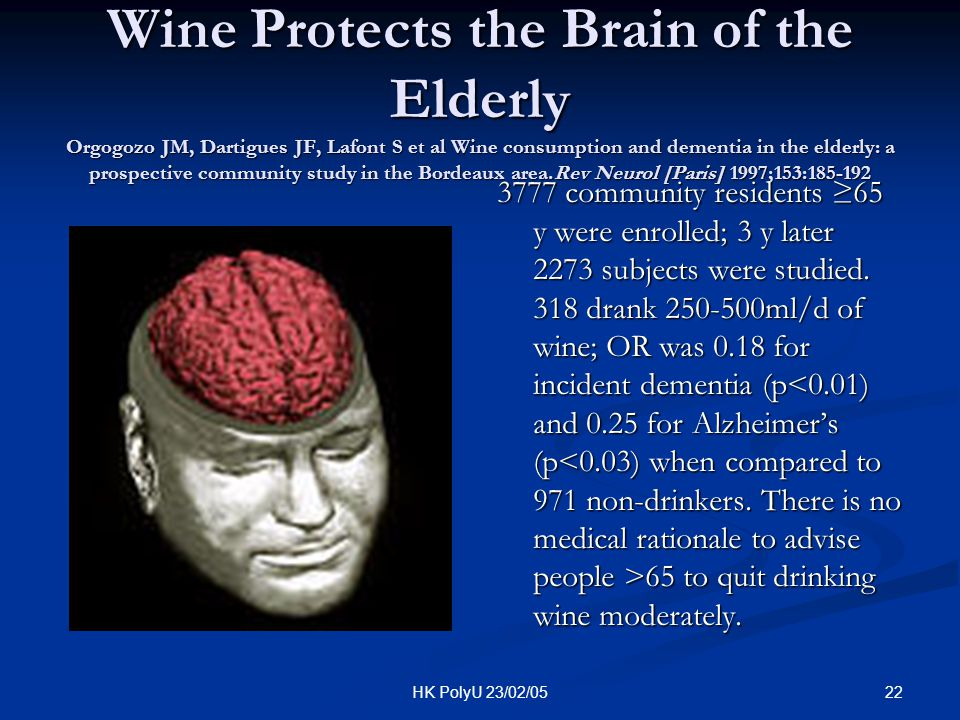 22HK PolyU 23/02/05 Wine Protects the Brain of the Elderly Orgogozo JM, Dartigues JF, Lafont S et al Wine consumption and dementia in the elderly: a p