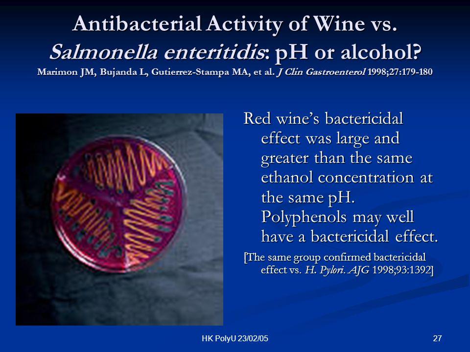 27HK PolyU 23/02/05 Antibacterial Activity of Wine vs. Salmonella enteritidis: pH or alcohol? Marimon JM, Bujanda L, Gutierrez-Stampa MA, et al. J Cli