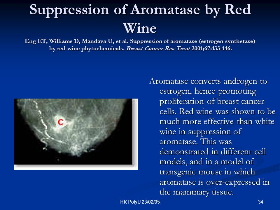 34HK PolyU 23/02/05 Suppression of Aromatase by Red Wine Eng ET, Williams D, Mandava U, et al. Suppression of aromatase (estrogen synthetase) by red w