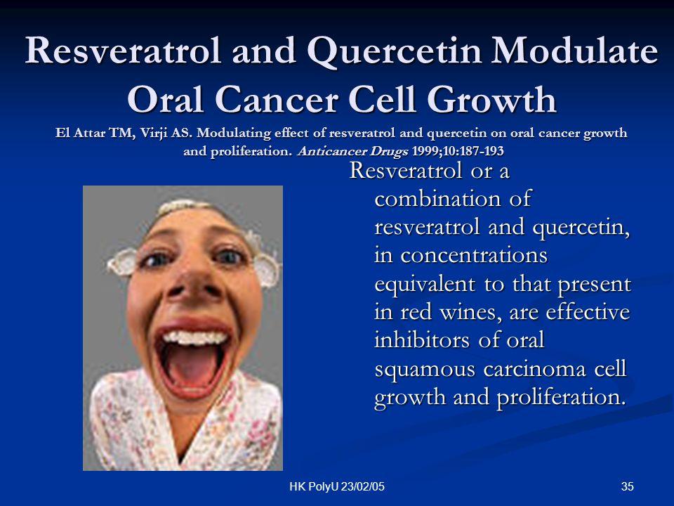 35HK PolyU 23/02/05 Resveratrol and Quercetin Modulate Oral Cancer Cell Growth El Attar TM, Virji AS. Modulating effect of resveratrol and quercetin o