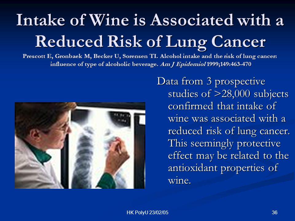 36HK PolyU 23/02/05 Intake of Wine is Associated with a Reduced Risk of Lung Cancer Prescott E, Gronbaek M, Becker U, Sorensen TI. Alcohol intake and