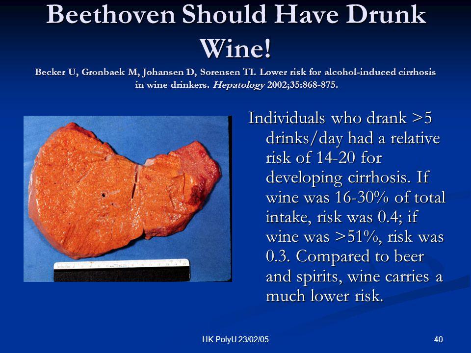 40HK PolyU 23/02/05 Beethoven Should Have Drunk Wine! Becker U, Gronbaek M, Johansen D, Sorensen TI. Lower risk for alcohol-induced cirrhosis in wine