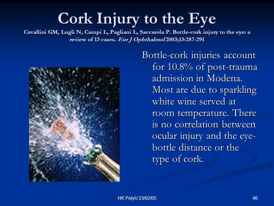 46HK PolyU 23/02/05 Cork Injury to the Eye Cavallini GM, Lugli N, Campi L, Pagliani L, Saccarola P. Bottle-cork injury to the eye: a review of 13 case