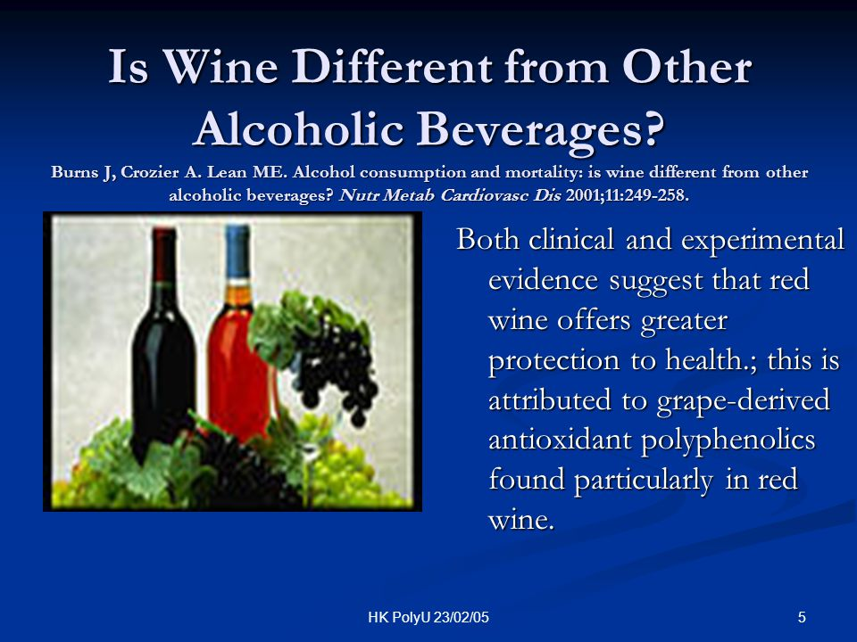 6HK PolyU 23/02/05 Composition of Wine Excluding Phenolic Acids and Polyphenols Component Concentration (g/100ml) Water80-90 Carbohydrates/sugars0.2-0.45 Alcohols (mostly ethyl) 8.0-15.3 Glycerol0.30-1.40 Aldehyde0.01-0.050 Organic Acid (e.g.