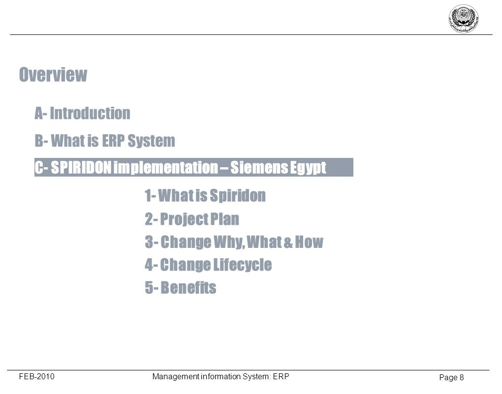 Page 9 FEB-2010 Management information System: ERP What is Spiridon .