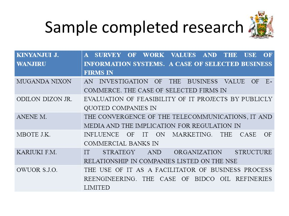 Sample completed research KINYANJUI J.