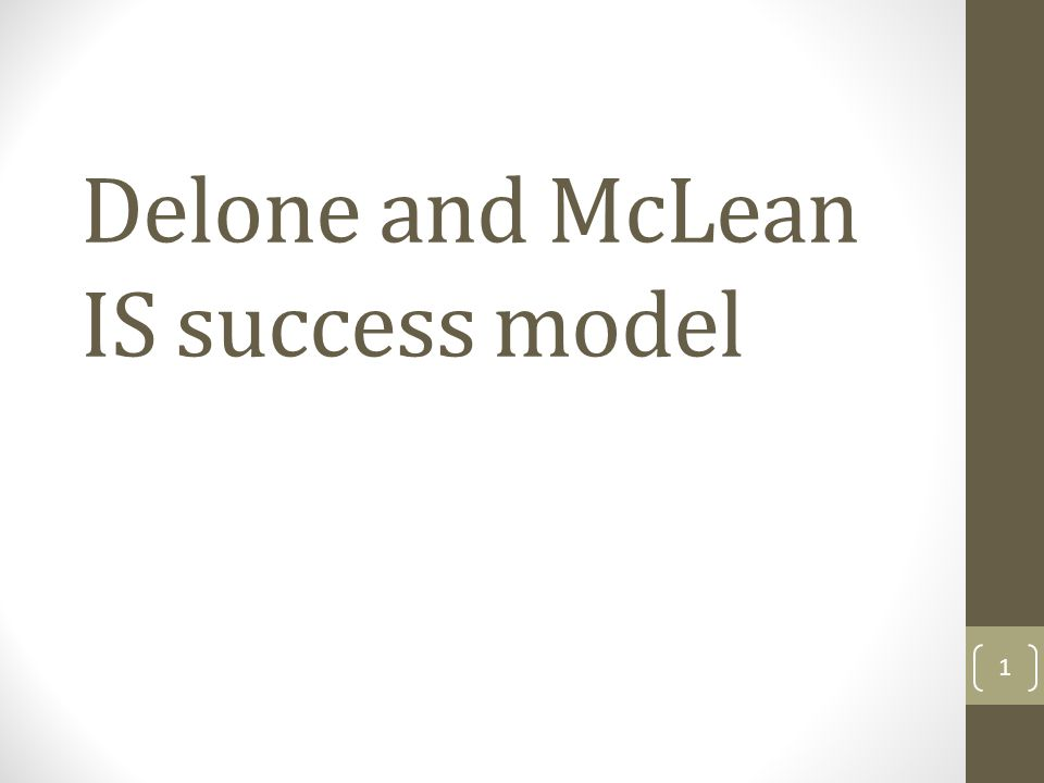 Delone and McLean IS success model (1992) 2