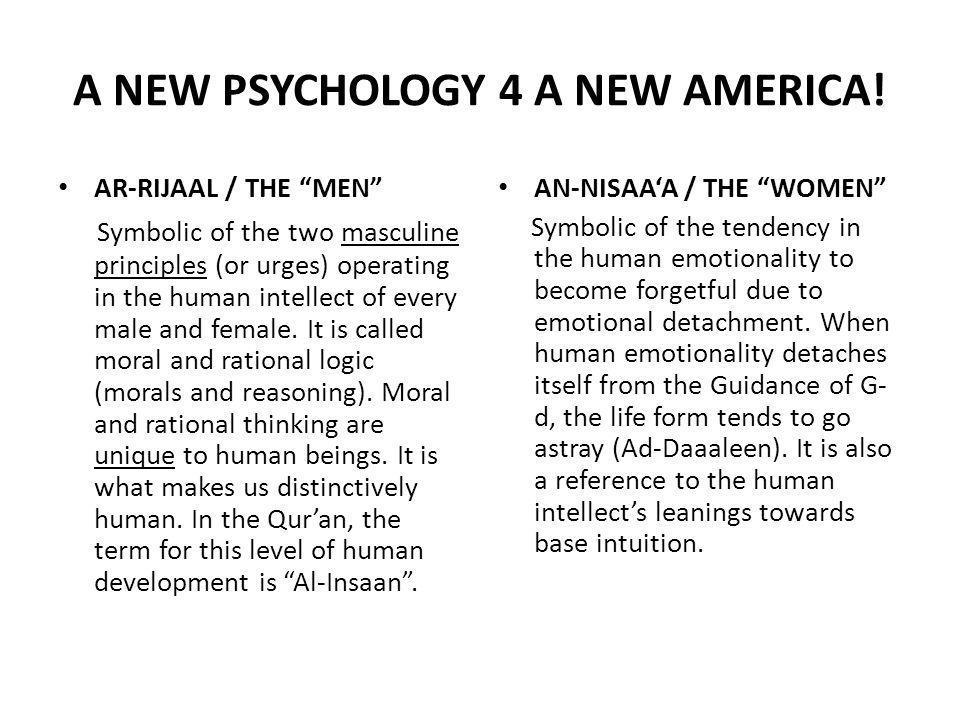 A NEW PSYCHOLOGY 4 A NEW AMERICA.