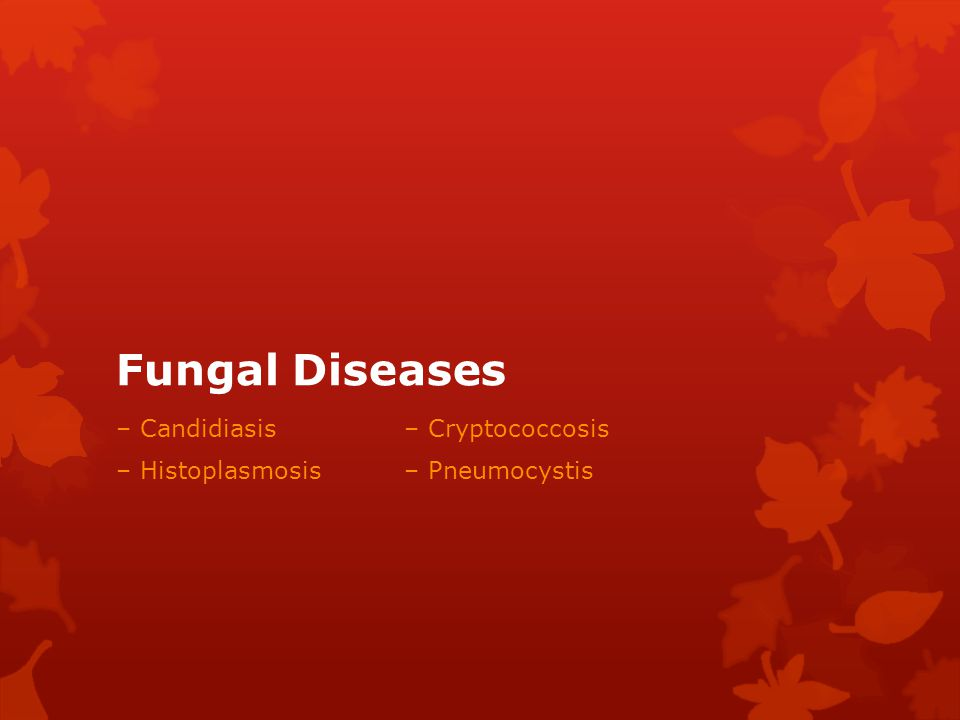 Fungal Diseases – Candidiasis – Cryptococcosis – Histoplasmosis – Pneumocystis