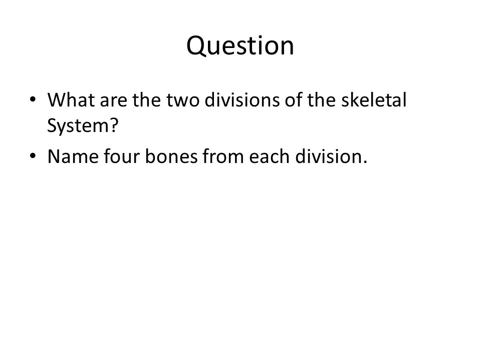 Question What are the two divisions of the skeletal System? Name four bones from each division.