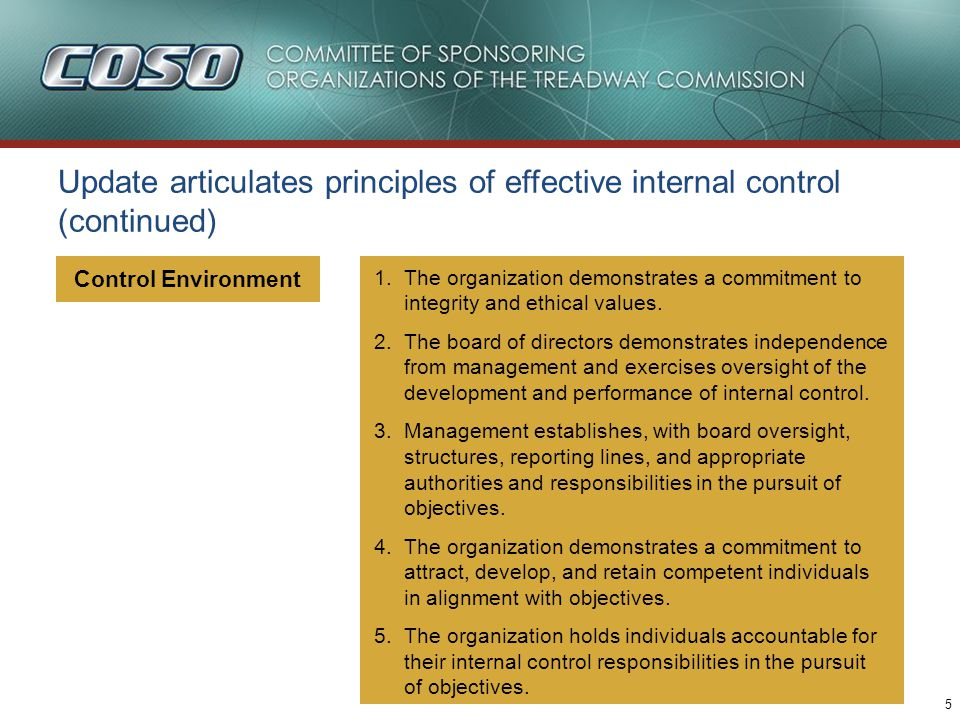 5 Control Environment Update articulates principles of effective internal control (continued) 1.The organization demonstrates a commitment to integrity and ethical values.