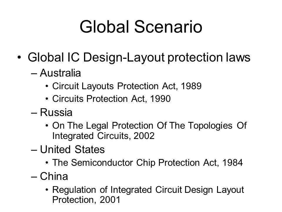 Global Scenario Global IC Design-Layout protection laws –Australia Circuit Layouts Protection Act, 1989 Circuits Protection Act, 1990 –Russia On The Legal Protection Of The Topologies Of Integrated Circuits, 2002 –United States The Semiconductor Chip Protection Act, 1984 –China Regulation of Integrated Circuit Design Layout Protection, 2001