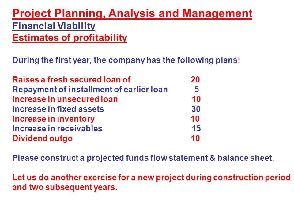 Project Planning, Analysis and Management Financial Viability Estimates of profitability During the first year, the company has the following plans: R