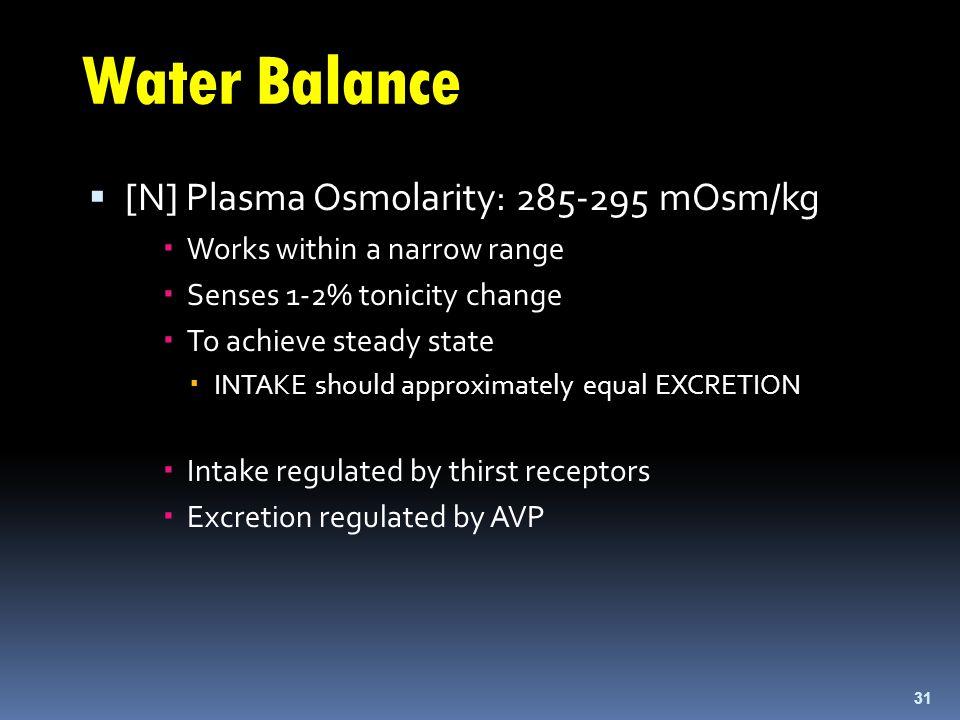Water Balance  [N] Plasma Osmolarity: 285-295 mOsm/kg  Works within a narrow range  Senses 1-2% tonicity change  To achieve steady state  INTAKE