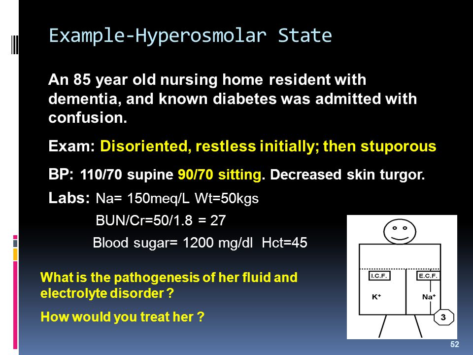 Example-Hyperosmolar State An 85 year old nursing home resident with dementia, and known diabetes was admitted with confusion. Exam: Disoriented, rest