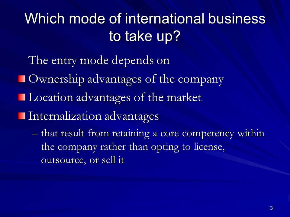 3 Which mode of international business to take up.