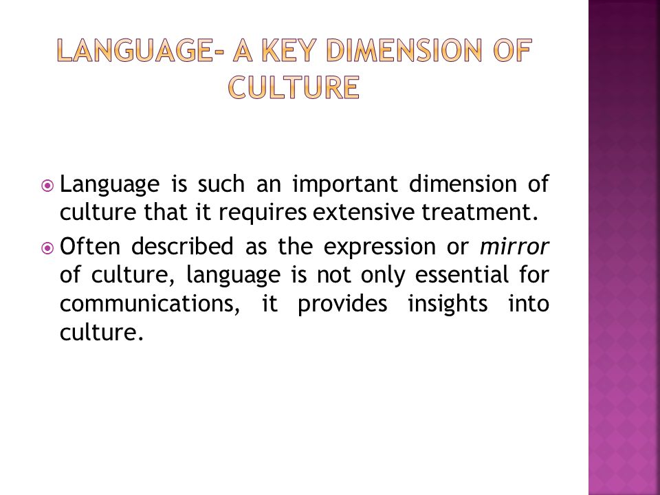  Language is such an important dimension of culture that it requires extensive treatment.  Often described as the expression or mirror of culture, l