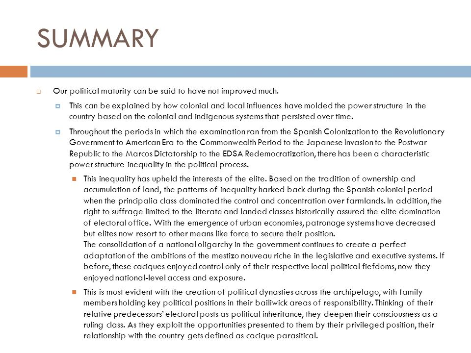 SUMMARY  Our political maturity can be said to have not improved much.