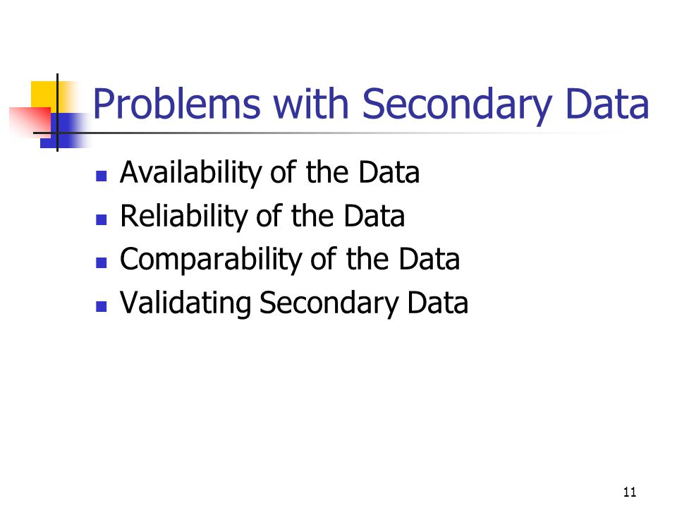 11 Problems with Secondary Data Availability of the Data Reliability of the Data Comparability of the Data Validating Secondary Data