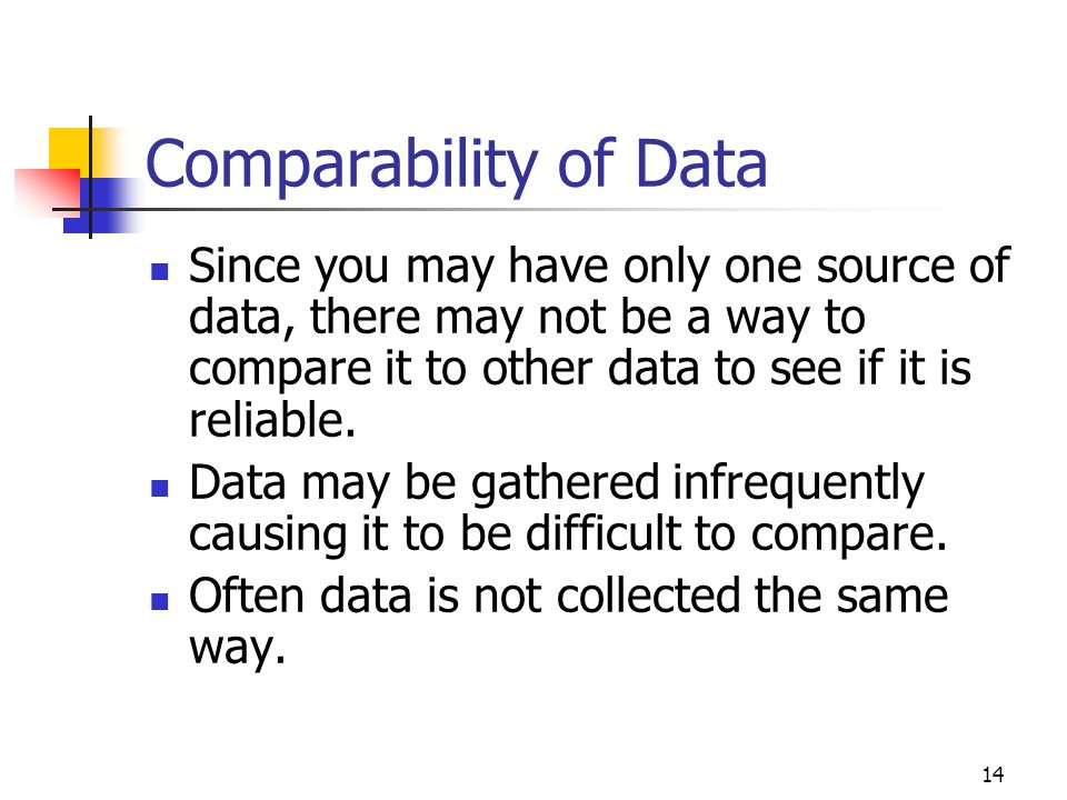 14 Comparability of Data Since you may have only one source of data, there may not be a way to compare it to other data to see if it is reliable. Data
