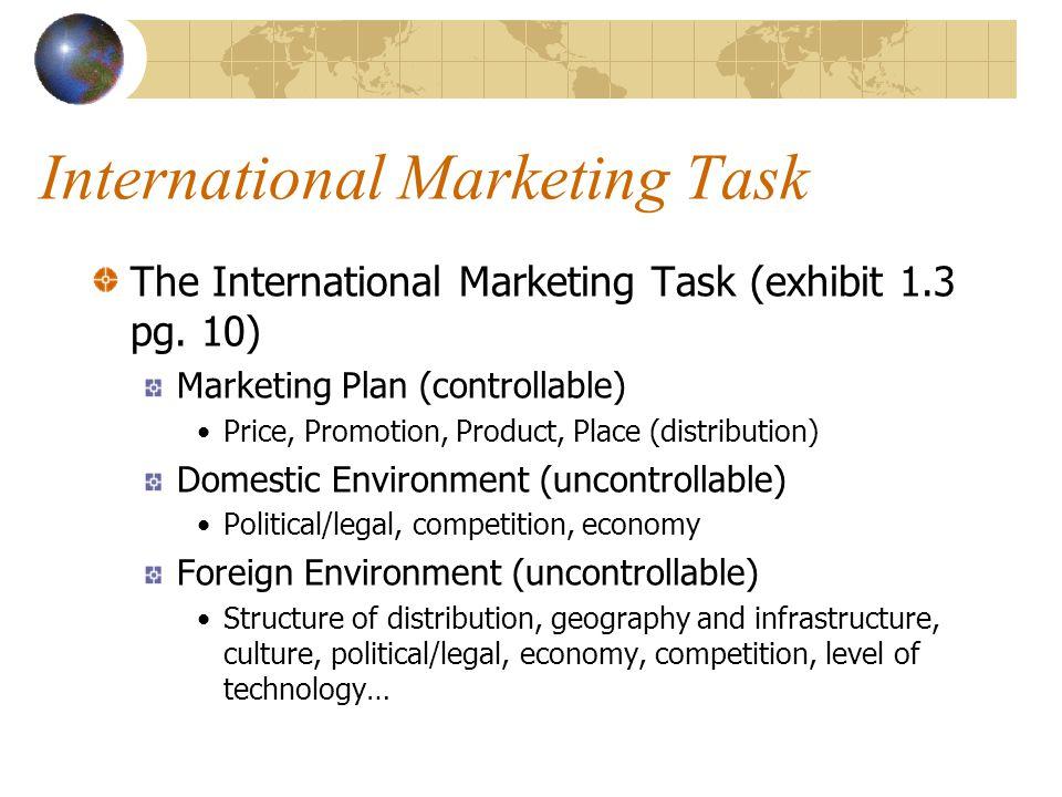 International Marketing Task The International Marketing Task (exhibit 1.3 pg. 10) Marketing Plan (controllable) Price, Promotion, Product, Place (dis
