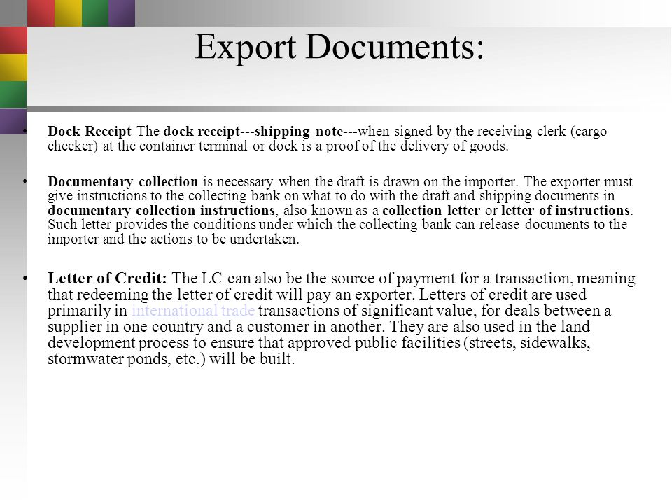 Export documents Air Waybills :The air waybill---air consignment note or airway bill of lading---serves as a receipt for goods and an evidence of the