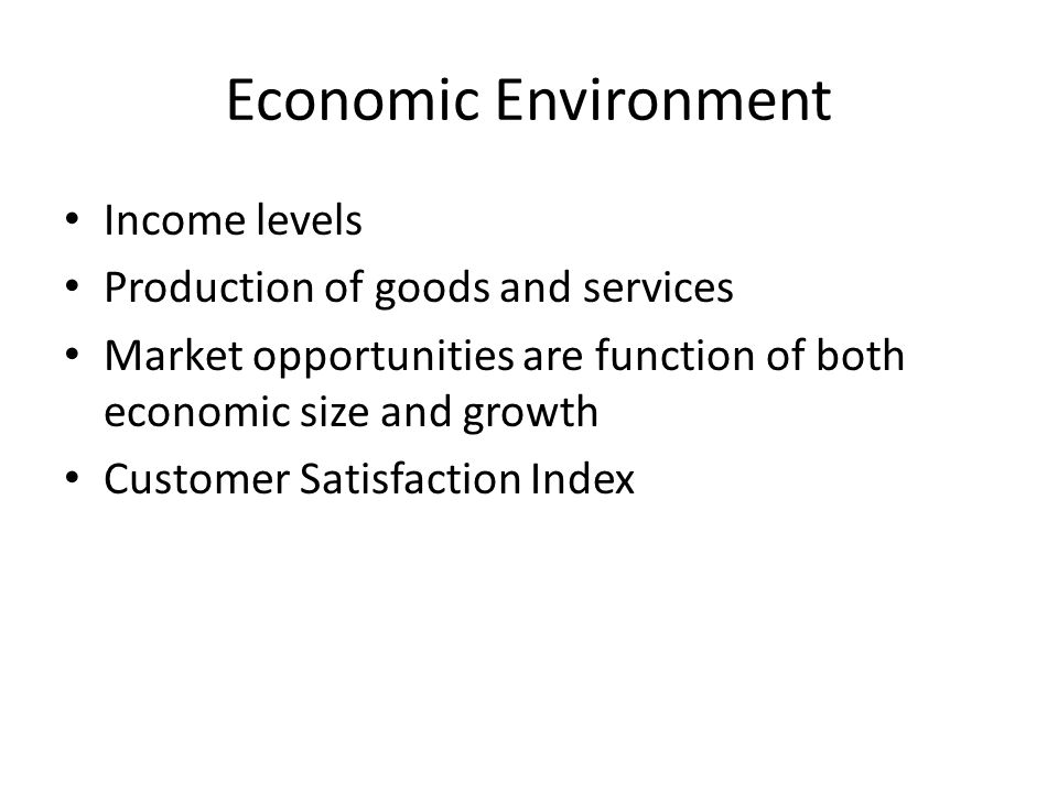 Economic Environment Income levels Production of goods and services Market opportunities are function of both economic size and growth Customer Satisfaction Index