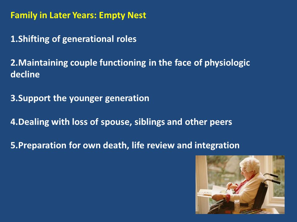 Family in Later Years: Empty Nest 1.Shifting of generational roles 2.Maintaining couple functioning in the face of physiologic decline 3.Support the y