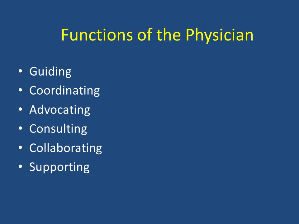 Functions of the Physician Guiding Coordinating Advocating Consulting Collaborating Supporting