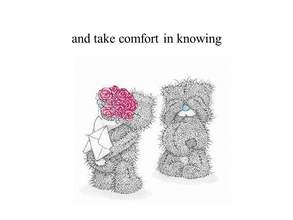 and take comfort in knowing