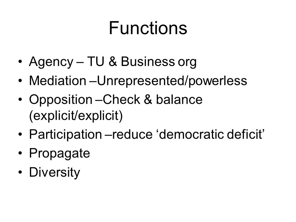 Functions Agency – TU & Business org Mediation –Unrepresented/powerless Opposition –Check & balance (explicit/explicit) Participation –reduce 'democratic deficit' Propagate Diversity