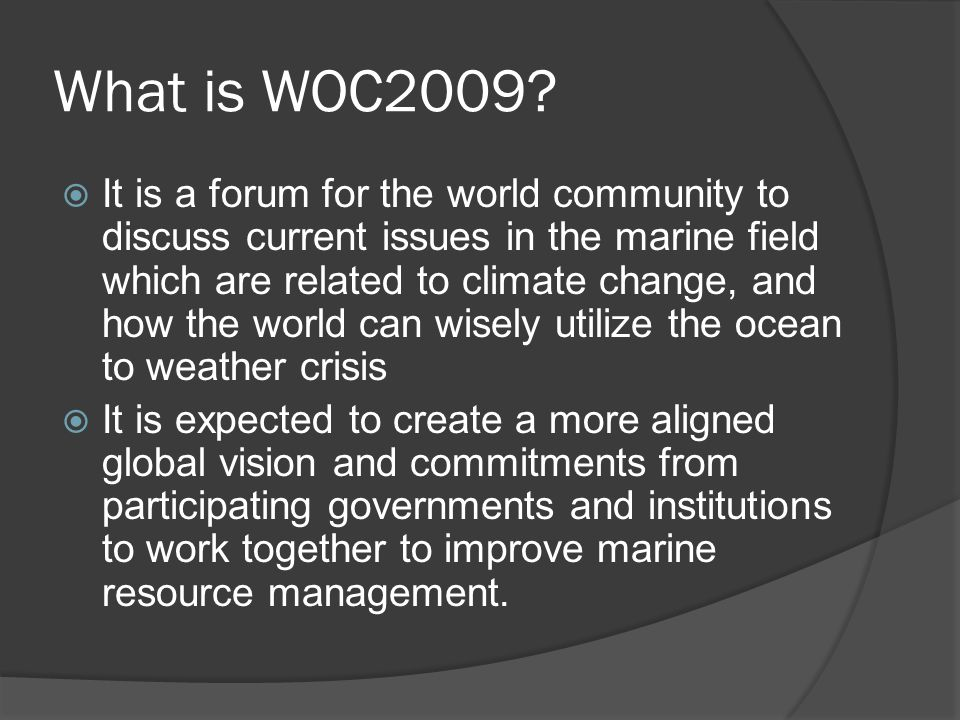 What is WOC2009.