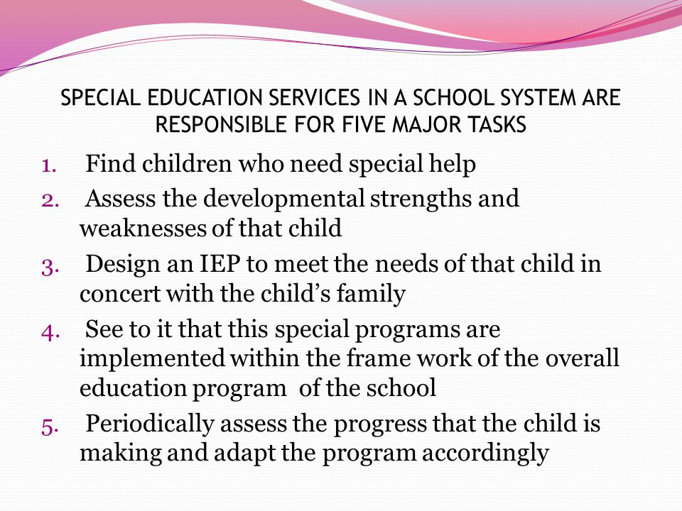 SPECIAL EDUCATION SERVICES IN A SCHOOL SYSTEM ARE RESPONSIBLE FOR FIVE MAJOR TASKS 1.