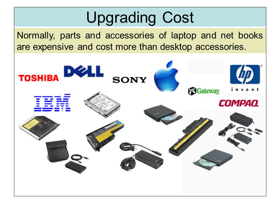 Upgrading Cost Normally, parts and accessories of laptop and net books are expensive and cost more than desktop accessories.